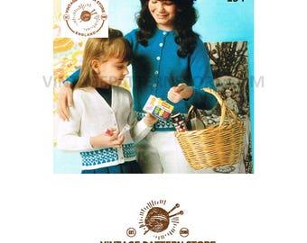 "Girls, V or round neck, raglan sleeve, fair isle banded cardigan in 4 Ply - 22"" - 32"" - Vintage PDF knitting Pattern 154"