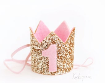 Miniature Birthday Crown | 1st Birthday Crown  First Birthday Crown | Baby Birthday Crown | 1st Girl Birthday Crown | Gold + Pink Crown