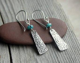 Turquoise Flower Earrings- Silver Earrings
