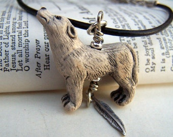 Wolf Necklace Call of the Wild Mens Necklace Unisex Jewelry  Leather Cord Gray Wolf Mens Jewelry