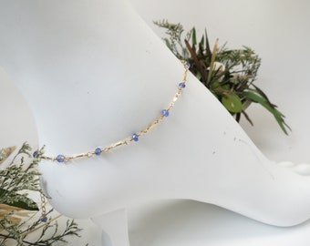 Tanzanite Anklet, December Birthstone, Blue Violet Gemstone In Gold Filled, 8.9-10.25 Inches Length, Tanzanite Jewelry Wire Wrapped Anklet