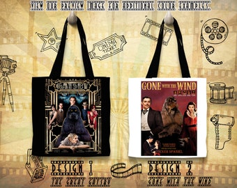 American Cocker Spaniel Tote Bag/Cocker Spaniel Portrait/Custom Dog Portrait/Movie Poster/Gone with the Wind/The Great Gatsby