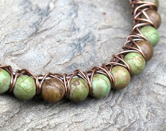 Green turquoise bracelet - copper wire wrapped stone bead bangle