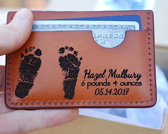 Personalized Fathers Day Gift, Footprints Wallet, Gift for New Daddy, Newborn Baby Announcement, Leather Wallet, New Dad, Gifts for Him, men