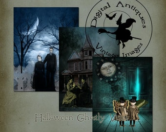 Halloween Ghostly Vistas Collage Sheet Printable Digital Download