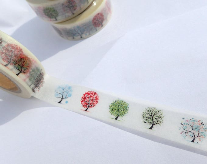 Colorful Trees Washi Tape - Winter Hearts Foliage Fruit Green Trees - Paper Tape Great for Calendars Paper Crafts Organizing 15mm x 10m