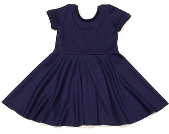 Navy Blue Twirl Dress, Baby Dress, Toddler Dress, Girls Dress, Spin Dress, Twirl Dress