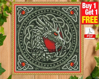 Dragon Cross Stitch Pattern, Dragons, PDF, Instant Download, Embroidery, Chart, Modern, fantastic, fantasy, #sp 223