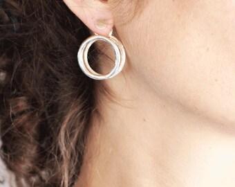 ear tunnel silver earrings