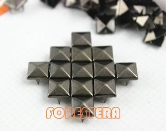 9mm Gunmetal Pyramid Stud Punk Rock Leathercraft Stud (GP09)
