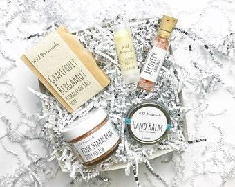 Sample Spa Gift Set, Body Scrub, Bath Salt, Soap, Lip Balm, Hand Balm, Spa Party, Detox, Relax