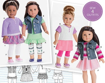 "Simplicity 8041, American Girl Doll, 18"" Doll Clothes Pattern, ruffled tunic, henley tee, denim vest, 3 skirts, leggings, New, UN-CUT"