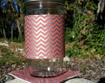 Mason Jar cozy / mason jar sleeve / mason jar cozies - Coral salmon orange and silver chevron - plus matching coaster