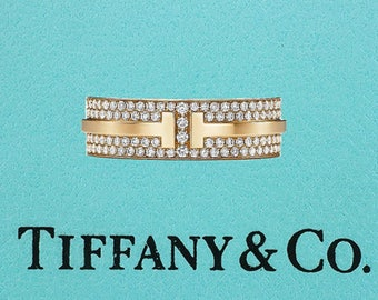 Tiffany & Co. T Two Ring .58ct Diamond 18K Eternity Wedding Band Ring