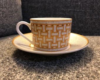 Vintage Hermes mosaic tea/ coffee cup and plate . Super rare
