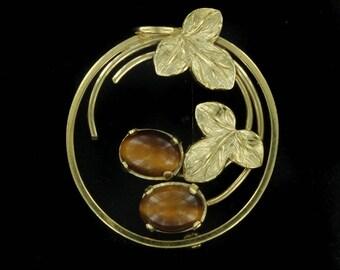 Vintage 12KT  GF Gold Filled Leaf design Tiger's Eye Circle Pin Brooch  Wells