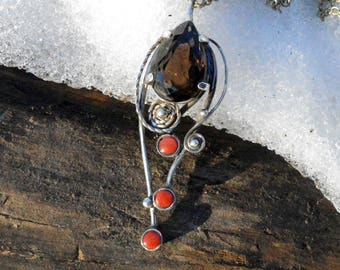 Sterling Silver Pendant with Smoky Quartz and Red Corals, Smoky Quartz Pendant, Gemstone Pendant, 925 Sterling Silver, Natural Red Corals