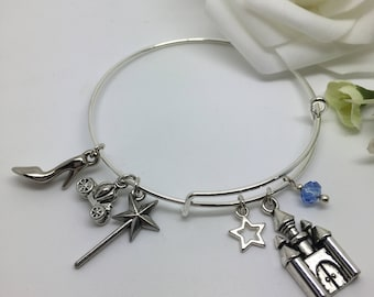 The Stroke of Midnight ~ Cinderella inspired expandable charm bangle, charm bracelet.