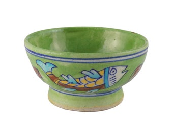 Blue Pottery, Bowl, Pottery Bowl, Serving Bowl, Green Bowl, Soup bowl, Handmade Pottery, Ceremic  Pottery, Hand decorate Bowl, Painted bowl