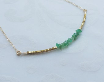 Gift for Mom Emerald Gold Beaded Necklace Anniversary Gift Emerald Necklace Gift for Her Birthstone Necklace Jewelry Emerald Jewelry