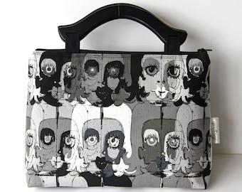 Fabulous Monochrome Faces Fabric Handbag Purse with Black Wooden Handles