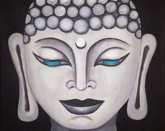 Buddha Blue Eyes - Acrylic Painting