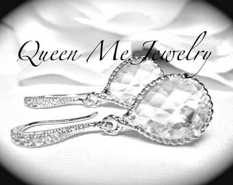Brides bridesmaids teardrop Earrings Wedding earrings Sterling wires Petite Wedding Bridal earrings Jewelry Bridesmaids earrings Gift
