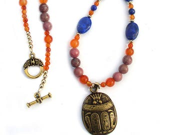 Egyptian Necklace Scarab Pendant with Gold Accents
