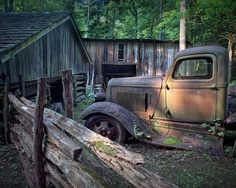 Old Rusty Dodge Pickup Truck on a Farm by the Edge of the Smoky Mountain National Park in Tennessee No.3 A Fine Art Landscape Photograph