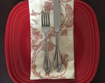 Large cloth napkins, red and white cloth napkins, reusable napkins, eco friendly napkins,cloth napkin set, handmade cloth napkins
