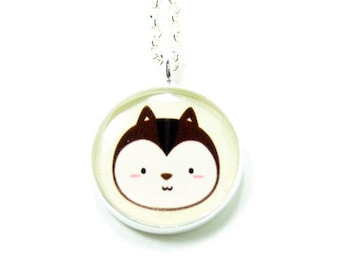 Chipmunk Necklace  - Brown Silver Plated 17 inch