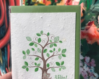 Hello owl Card // Grow a Note // Seed Card // Plantable Paper
