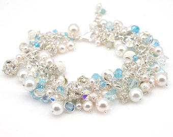 Pearl Cluster Bracelet | Sky Blue Pearl Bracelet | Swarovski Crystal Pearl Rhinestone Cluster Bracelet