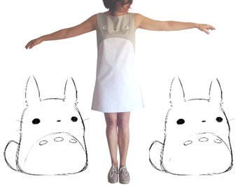 totoro dress, grey totoro woman dress, embroidered totoro dress, made in spain, studio ghibli, totoro cosplay, totoro clothes, totoro lovers
