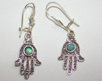Sterling Silver Hamsa Hand Earrings with Opal