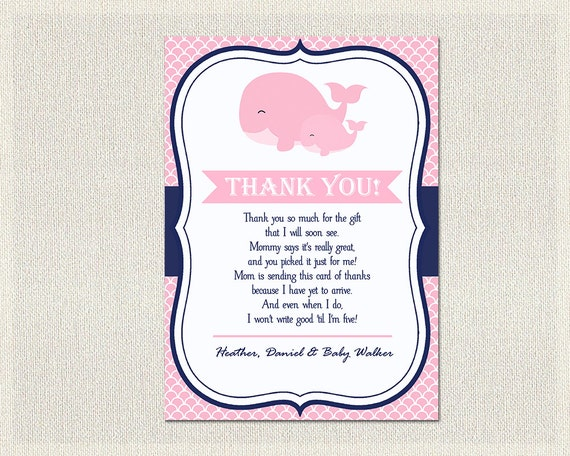 Items Similar To Nautical Baby Shower Thank You Card Nautical Pink Blue  Whale Thank You Note Girl Thank You Card Printable DIY Baby Shower BS 148  On Etsy