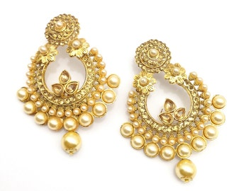 Handmade Indian Earrings Set Bridal Indian Jewelry  Gold Plated Pearls imitation and Alloy ,IndianJewellery