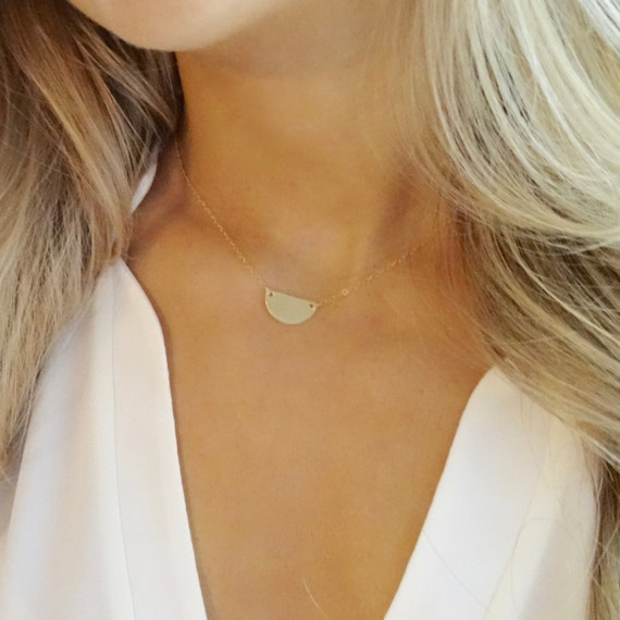 Gold Half Circle Pendant Necklace