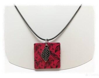 Ref 958 leaf pendant red polymer clay charm
