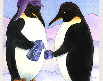 Penguins (Antarctic Coffee Break) Greeting Card