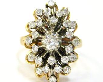 Starburst Diamond Cluster 14K 1950s Ring - X3165