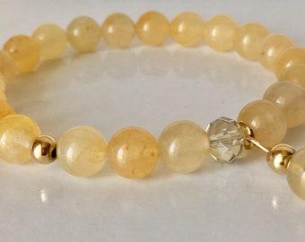Golden Jade Bracelet with Charm Natural Jade Bracelet Solar Plexsus Solar Plexsus Chakra Healing Bracelet For Joy Gift for Mum Yellow Jade