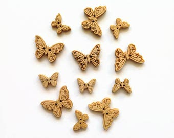 12 Wooden Butterfly Buttons, Butterfly Wood Buttons, Butterfly Buttons, Wood Butterflies, Scrapbooking Buttons, Sewing Buttons, Butterflies
