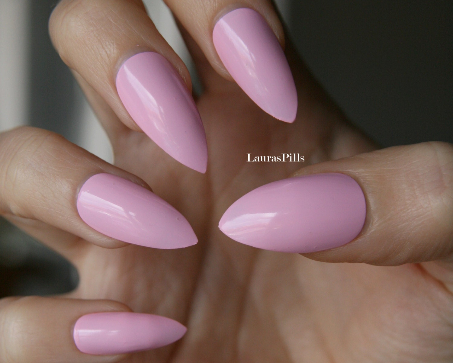 Pink stiletto nails Matt or glossy. Set of hand painted nails