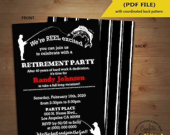 Fishing retirement invitation retirement fisherman men party invite Instant Download YOU EDIT TEXT and print yourself 5850