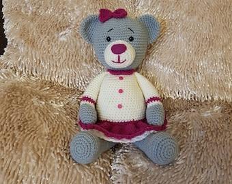 Crochet Teddy Bear, Hand Made Teddy, Stuffed Toy, Cuddly Bear