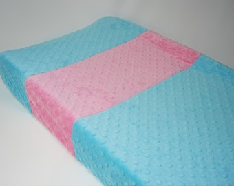 Aquamarine Blue Changing Pad Cover with Stripes