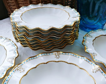 "12 Royal Crown Derby ""Lombardy"" Bone China Soup Bowls, Fancy, Frilly Edge China, Raised Turquoise Enamel, Ruffled Edge, Rimmed Soup Bowls"