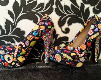 Sweets for my sweet high heels shoes, customised shoes, fabric shoes, heels, sweets fabric, women's heels, flat shoes, heeled shoes