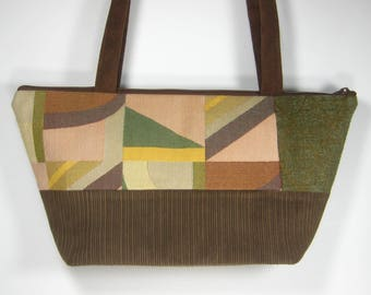 Texture and Color in Browns and Greens, Napa Purse